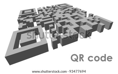 3D QR code (abbreviated from Quick Response code) in perspective. Vector