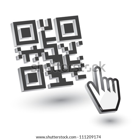 3D QR Code with hand arrow, vector