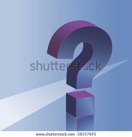 3D question mark, vector background
