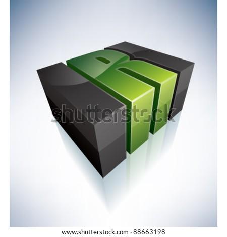 3D R green logo letter  R Logo 3d