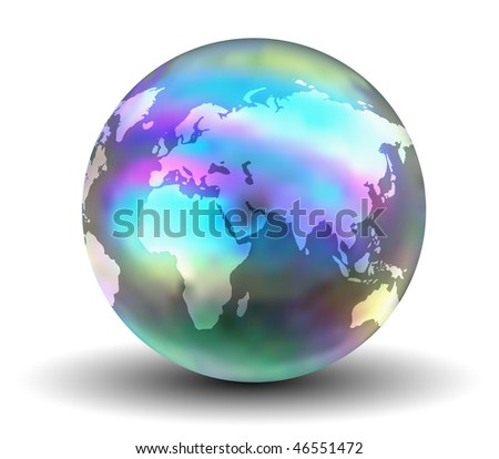 3D Rainbow Earth Globe (Vector - No Transparency )