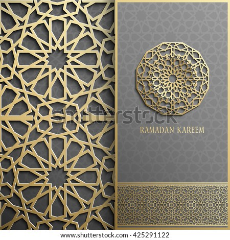3d Ramadan Kareem greeting card,invitation islamic style.Arabic circle golden pattern.Gold ornament on black,islamic brochure
