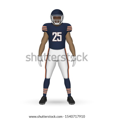 3D realistic American football player, Team Kit template design Chicago Bears