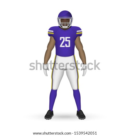 3D realistic American football player, Team Kit template design Minnesota Vikings