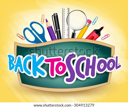 3D Realistic Back to School Title Poster Design in a Blackboard with School Items in a Background. Editable Vector Illustration