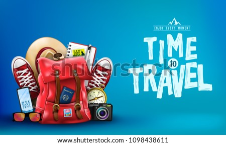 3D Realistic Banner with Items for Travelling like Backpack, Backpack, Sneakers, Compass, Mobile Phone, Sunglasses, Hat, Camera and Notebook in Blue Background. Vector Illustration