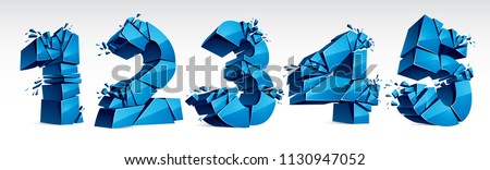 3D realistic blue numbers set 1 2 3 4 5 vector illustration, breaking to pieces digits over white symbols collection.