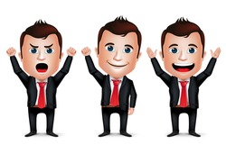 3D Realistic Businessman Cartoon Character with Different Pose and Raising Hands Up Wearing Black Suit Isolated in White Background. Set of Vector Illustration.