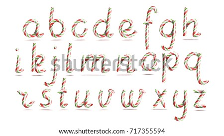 3D Realistic Candy Cane Alphabet Vector. Symbol In Christmas Colours. New Year Letter Textured With Red, White. Typography Template. Striped Craft Isolated Object. Xmas Art Illustration