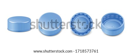 3d realistic collection of blue plastic bottle caps in side, top and bottom view.  Mockup with pet screw lids for water, beer, cider of soda. Isolated icon illustration.  Stockfoto ©