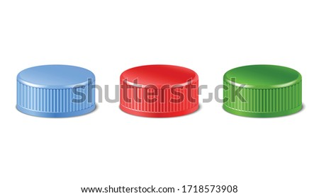 3d realistic collection of red, green, blue plastic bottle caps in side view.  Mockup with pet screw lids for water, beer, cider of soda. Isolated icon illustration.  Foto stock ©