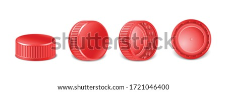 3d realistic collection of red plastic bottle caps in side, top and bottom view.  Mockup with pet screw lids for water, beer, cider of soda. Isolated icon illustration.  Photo stock ©