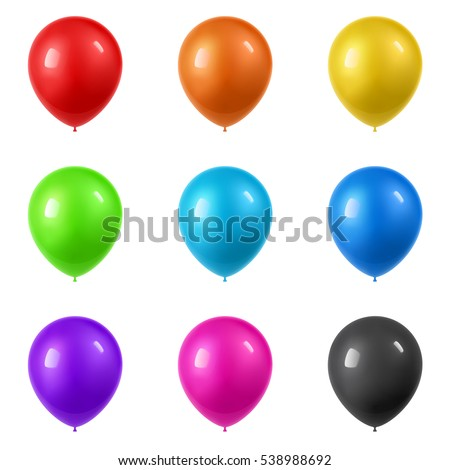 3d Realistic Colorful Balloons collection. Holiday illustration of flying glossy balloons. Isolated on white Background. Vector Illustration