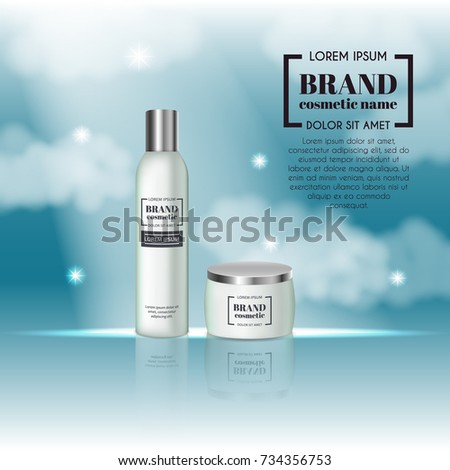 3D realistic cosmetic bottle ads template. Cosmetic brand advertising concept design on sky background with clouds. #734356753