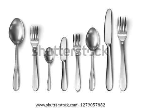 3d realistic cutlery set with table knife, spoon, fork, tea spoon and fish spoon. #1279057882