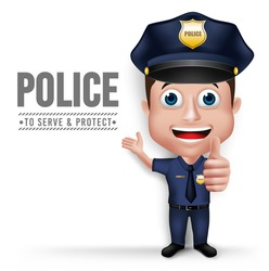 3D Realistic Friendly Police Man Character Policeman in Uniform for Security with White Space for Text Isolated in White Background. Vector Illustration