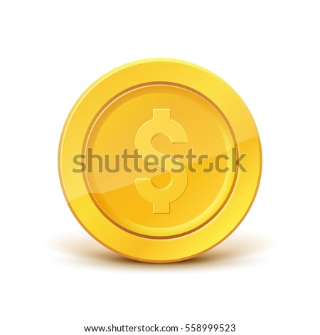 3d realistic gold coin icon