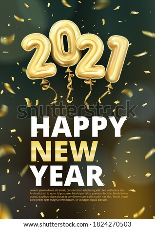 3d realistic isolated vector vertical banner, golden gel balls arranged as a number two thousand twenty one, 2021, New Year's balloons with tinsel to decorate your design, christmas, ads