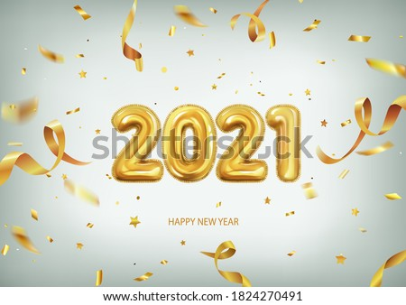 3d realistic isolated vector with golden gel balls arranged as a number two thousand twenty one, 2021, New Year's balloons with tinsel to decorate your design, christmas, ads