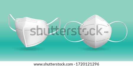 3D Realistic KN5 and N95 medical mask in isolated vector