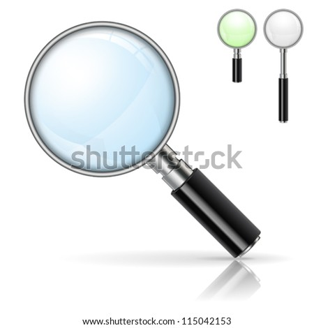 3D Realistic Magnifying Glass (Loupe) with Options Color and Size, isolated on white background