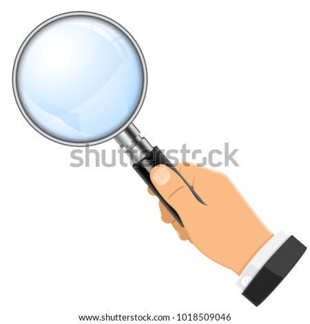3D Realistic Magnifying Glass (Magnifier) in businessman hand. Isolated vector illustration