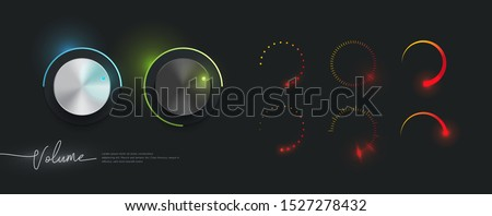 3d realistic metallic control knob set with collection of volume indicator template, neon glow style Foto stock ©