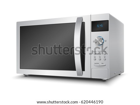 3D Realistic microwave oven steel vector on isolated white background