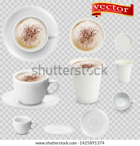 3d realistic mocha coffee in white cups view from the top and side. Mocha coffee in white paper Cups. A Cup of Mocha coffee and saucer, top view, realistic vector