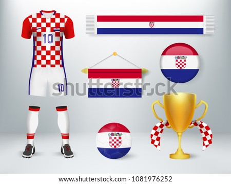 eda7b376daa 3D realistic mock up of home and away Croatia soccer jersey uniform.  Concept for nation