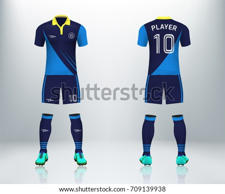 16c004e06fef7 3D realistic of font and back blue stripe soccer jersey shirt with pants  and soccer socks