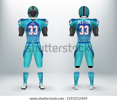 3D realistic of font and back of blue American rugby football jersey uniforms sets. Concept for American football apparel mock up for collage championships in vector illustration