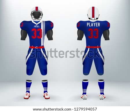 3D realistic of font and back of blue and white American rugby football jersey uniforms sets. Concept for  American football apparel mock up for collage championships in vector illustration