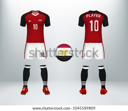 4c380445904 3D realistic of font and back of Egypt soccer jersey shirt with pants and  Egypt badge
