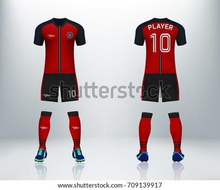 eed216fd4a9 ... mockup for football club. uniform front. 3D realistic of font and back  of red soccer jersey shirt with pants and soccer socks