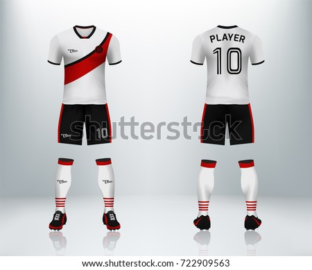 3D realistic of font and back of soccer jersey shirt with pants and soccer  socks on 6e8a35fd5