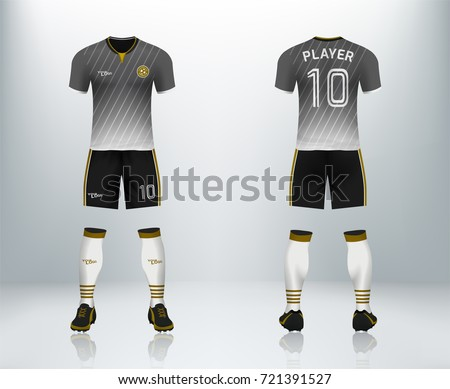 0fc841310d0 3D realistic of font and back of soccer jersey t-shirt with pants and soccer