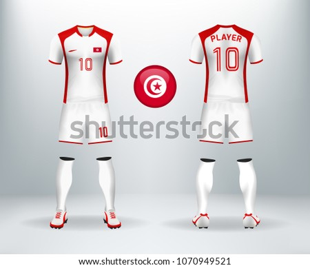 ... 3D realistic of font and back of Tunisia soccer jersey shirt with pants  and Tunisia badge ... 2d542b0b4