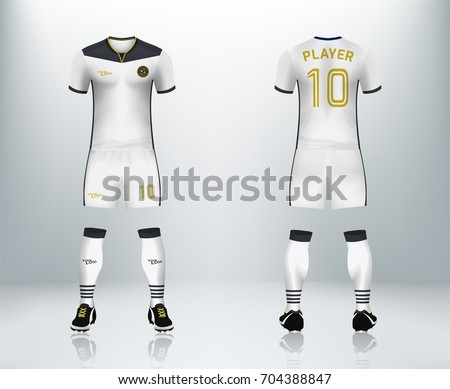 3D realistic of font and back of white soccer jersey shirt with pants and  soccer socks a18317a8e