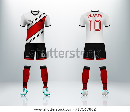742b2f22b 3D realistic of font and back of white soccer jersey shirt with pants and  soccer socks