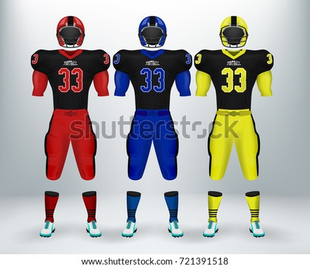 293cac849 3D realistic of font of American rugby football jersey uniforms sets.  Concept for football apparel