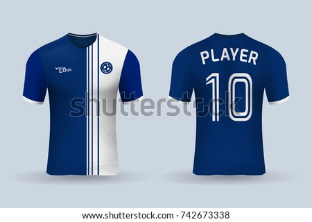 15c48749ef5b6c 3D realistic of front and back of soccer jersey shirt on shop backdrop.  Concept for