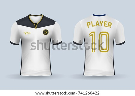 15f1d8898de180 ... football apparel mockup template in vector illustration. 3D realistic  of front and back of white soccer jersey shirt on shop backdrop. Concept