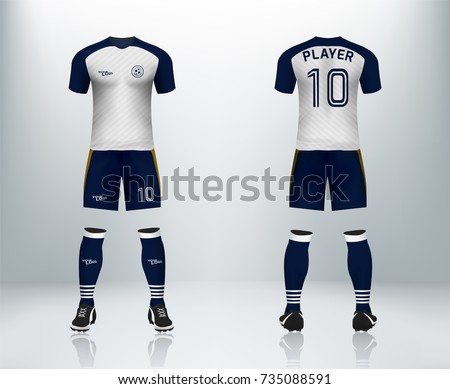 3D realistic of front and back of white soccer jersey t-shirt with pants and socks on shop backdrop. Concept for soccer team uniform or football apparel mockup template in vector illustration