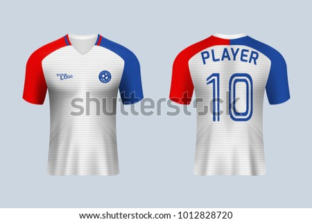 fb87385b1 3D realistic of front and back view of soccer jersey shirt on shop  backdrop. Concept