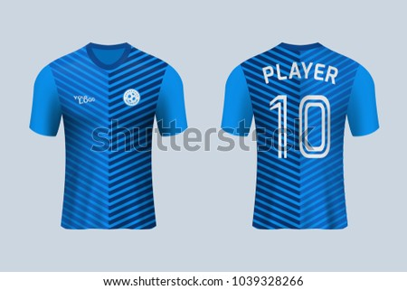 e852354d70b 3D realistic of front and back view of soccer jersey shirt on shop  backdrop. Concept