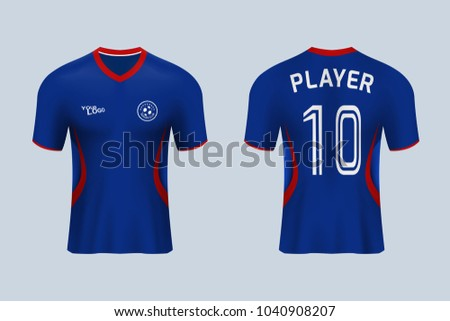49c13ab48 3D realistic of front and back view of soccer jersey shirt on shop  backdrop. Concept