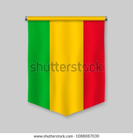 3d realistic pennant with flag of Mali