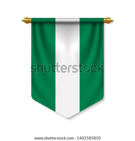 3d realistic pennant with flag of Nigeria. Vector illustration
