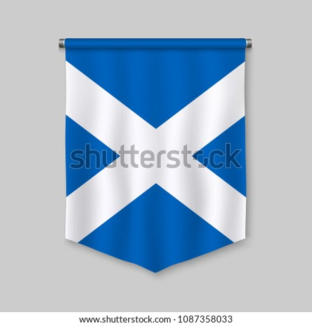 3d realistic pennant with flag of Scotland